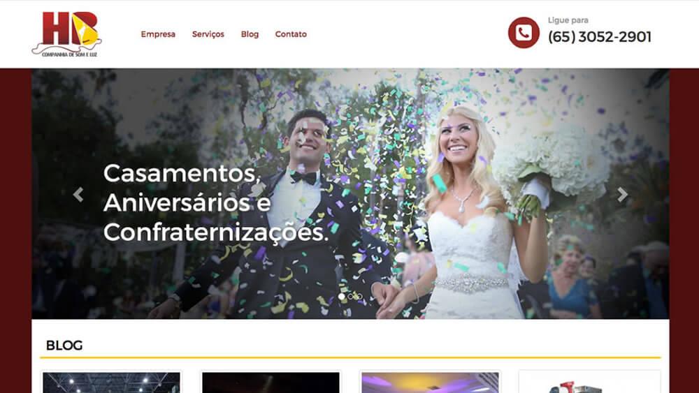 Sizy.com.br - Portfólio - HB Som e Luz - Site responsivo